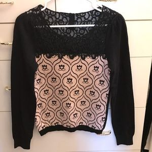 NWOT Anthropologie lace detail sweater
